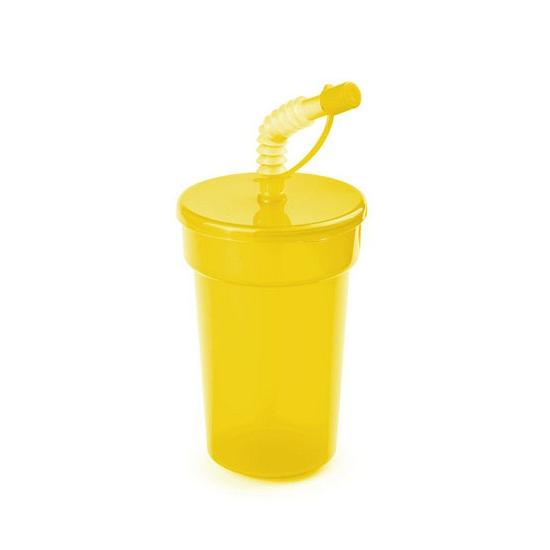 Afsluitbare sportbeker geel 400 ml