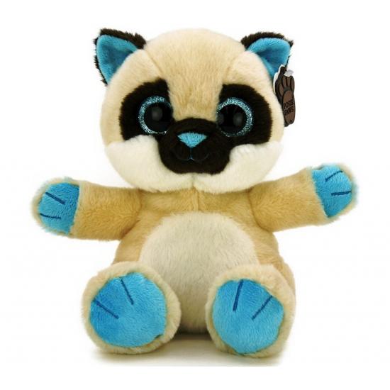 Beige met blauwe kat knuffel met kraalogen 22 cm