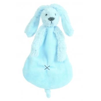 Blauw tutteldoekje konijn 25 cm