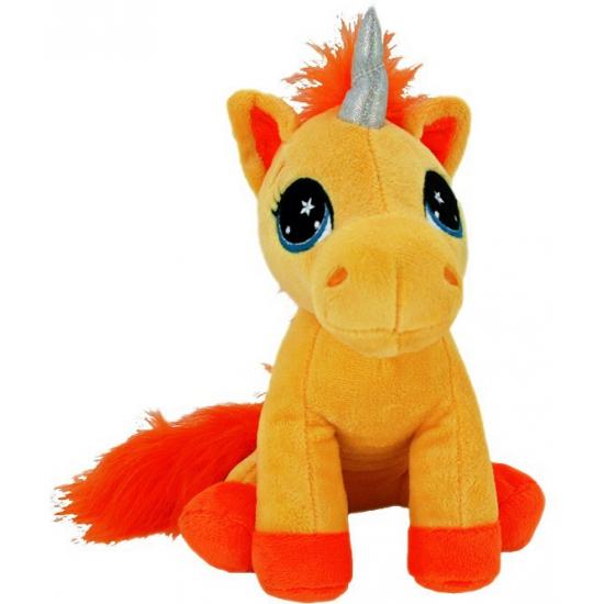 Eenhoorn knuffel oranje 22 cm