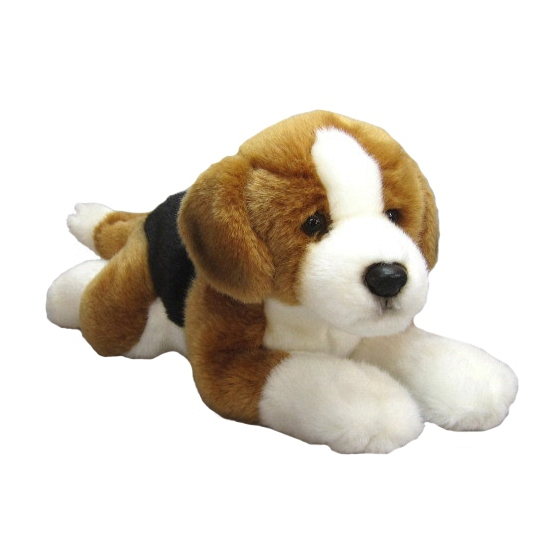 Grote pluche liggende Beagle knuffel 36 cm