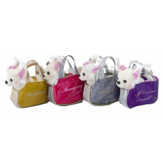 Handtasje met witte Chihuahua knuffel 17 cm