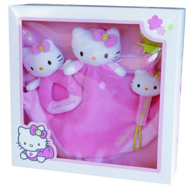Hello Kitty dekentje, speenhouder en rammelaar