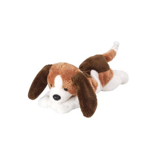 Honden knuffels bruin met witte jachthond 18 cm