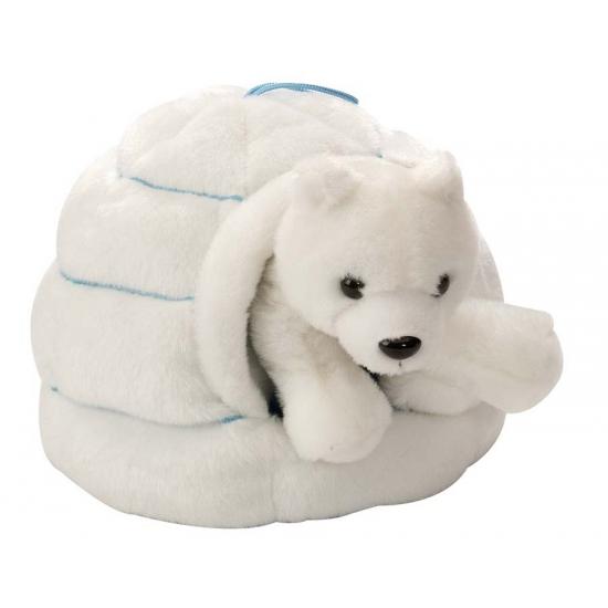 Ijsbeer in iglo knuffeltje 28 cm