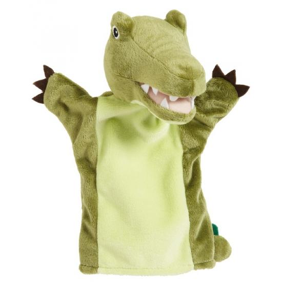 Kinder handpoppen groene krokodil 22 cm