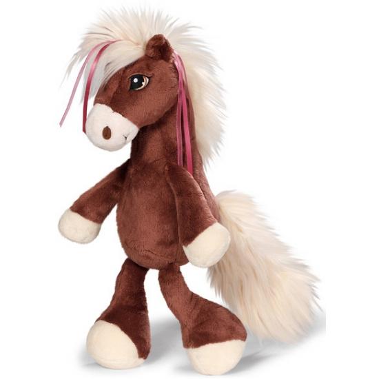 Kinder knuffel donker bruin paard 35 cm