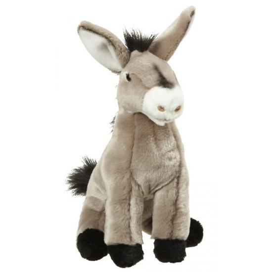 Kinder knuffel ezel zittend 26 cm