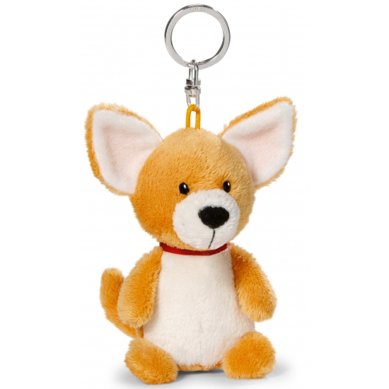 Knuffel chihuahua aan sleutelhanger 10 cm