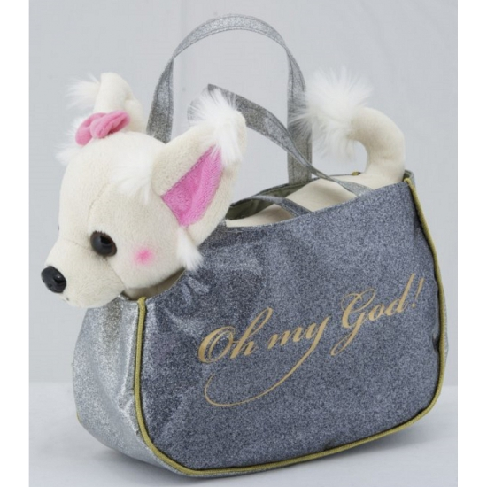 Knuffel Chihuahua wit in handtas 23 cm