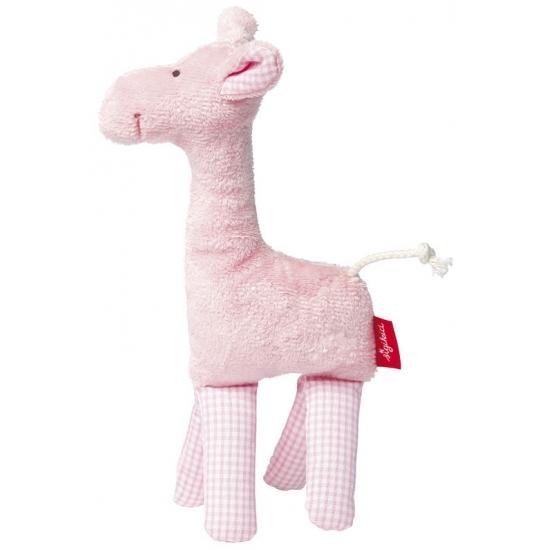 Knuffel giraffe roze met rammelaar 19 cm