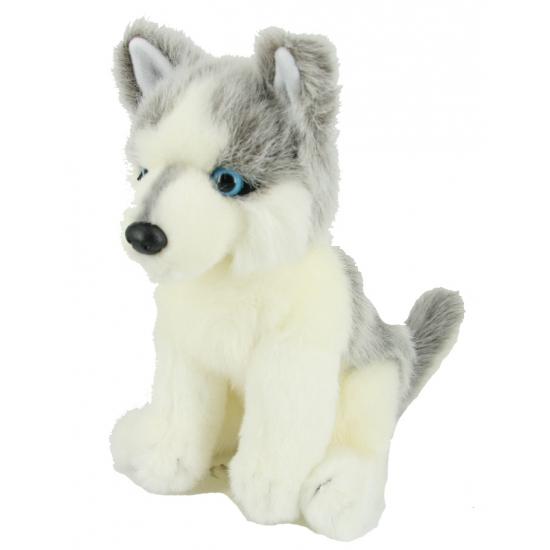 Knuffel hond Husky zittend 24 cm