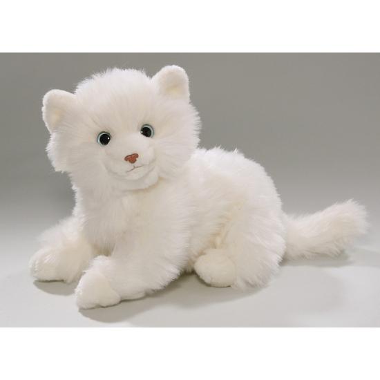 Knuffel kat in het wit 25 cm