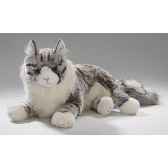 Knuffel liggende kat grijs 35 cm