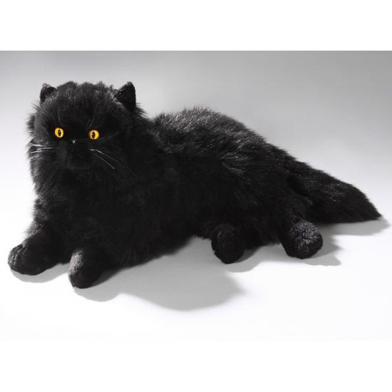 Knuffel liggende zwarte kat 35 cm