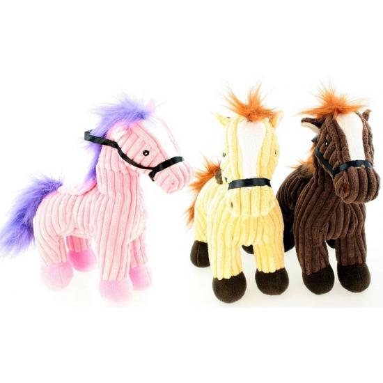 Knuffel paard roze van badstof 25 cm