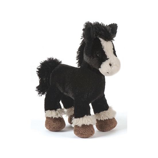 Knuffel paard zwart 23 cm