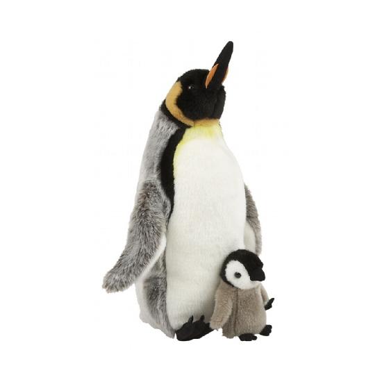 Knuffel pinguin met jong 40 cm