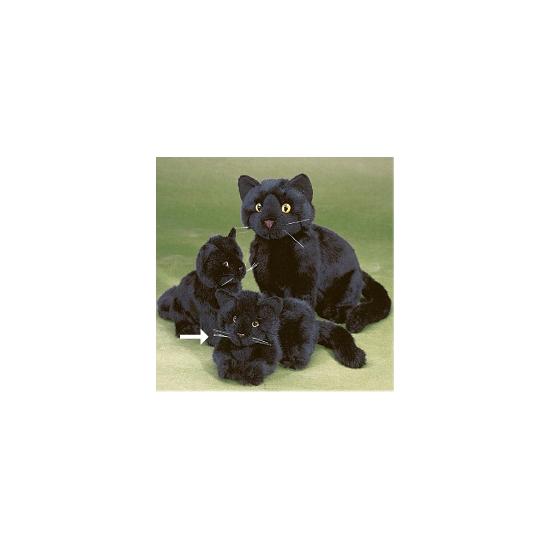 Knuffel poes zwart liggend 20 cm
