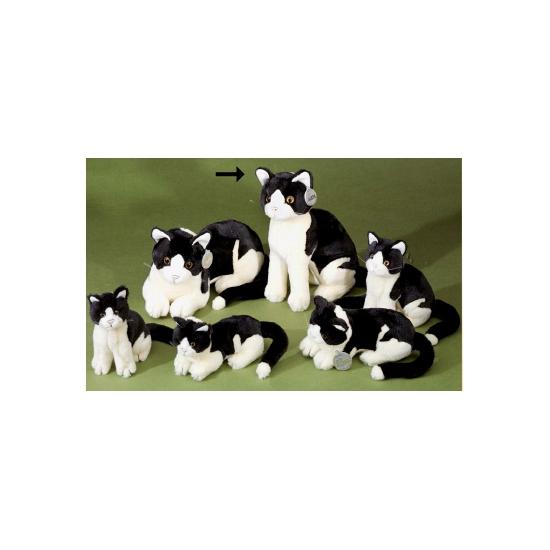 Knuffel poes zwart wit liggend 30 cm