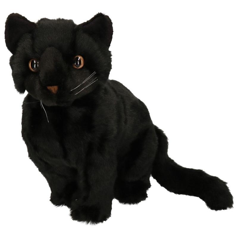 Knuffel poes zwart zittend 30 cm