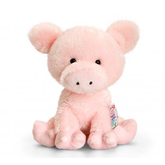 Knuffel varken roze 14 cm