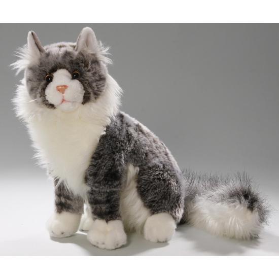 Knuffel zittende kat grijs 35 cm