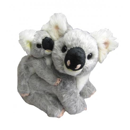 Koala met jong knuffel 26 cm