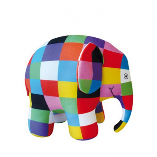 Lapjesolifant Elmer knuffel olifant 14 cm