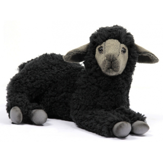 Levensechte knuffel lam zwart 33 cm