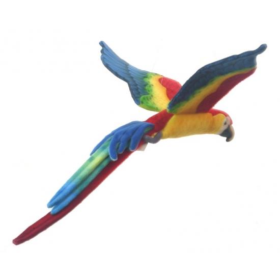 Levensechte knuffel papegaai vliegend 56 cm
