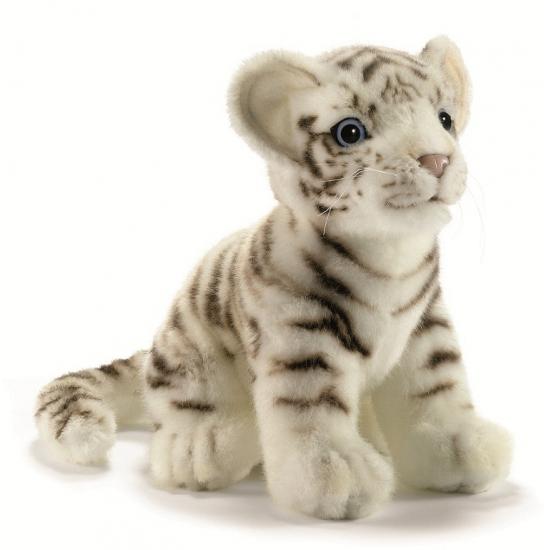 Levensechte pluche witte tijgers 18 cm