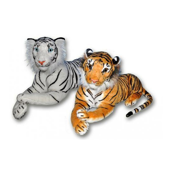 Liggende knufel tijger wit 70 cm
