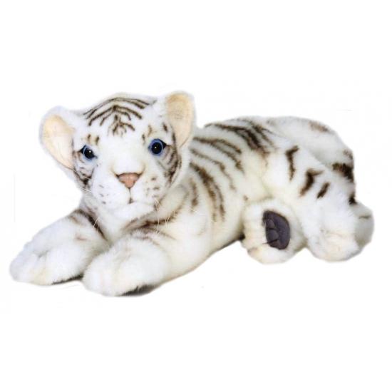 Liggende pluche witte tijger 26 cm