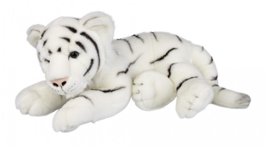 Liggende witte tijger knuffelbeest