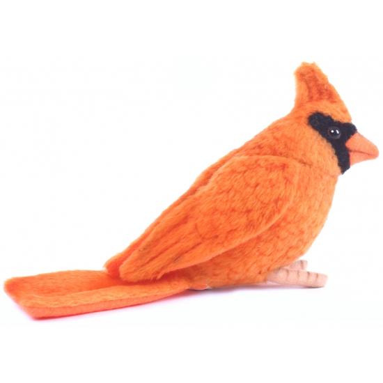 Luxe knuffel oranje Kardinaal vogel 9 cm