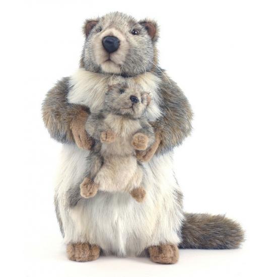 Luxe marmot met baby knuffel 35 cm