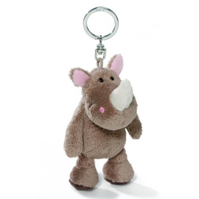 Neushoorn knuffel sleutelhanger 10 cm