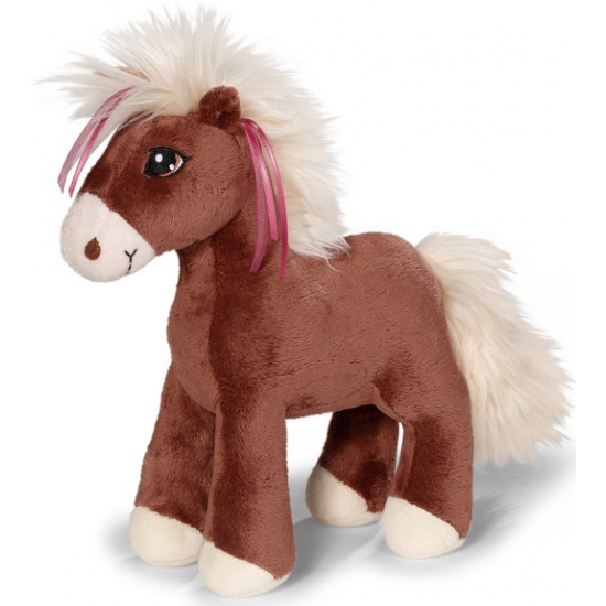 Nici donkerbruin paardje met roze linten in manen 25 cm