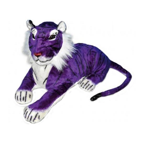 Paarse knuffel tijgers 65 cm
