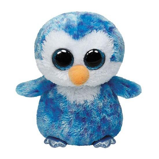 Paarse Ty Beanie pinguin kado knuffel 15 cm