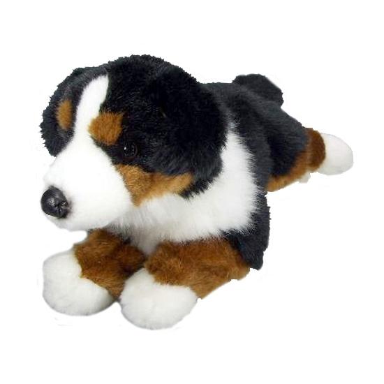 Pluche Berner Sennen hond liggend 30 cm