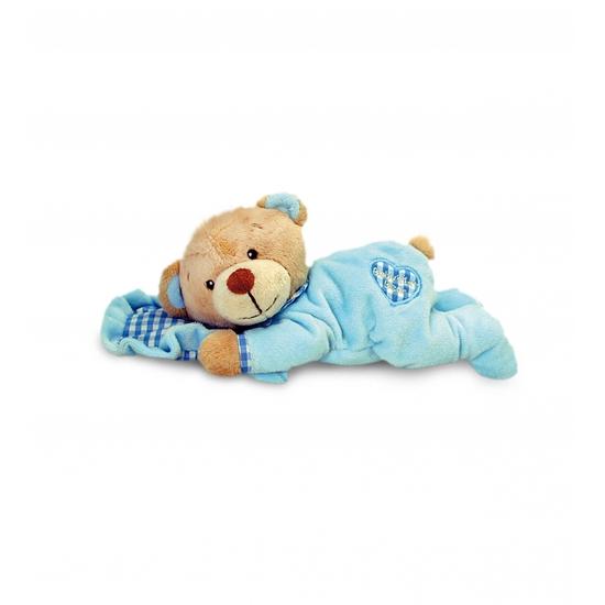 Pluche blauwe beer met kussen 15 cm