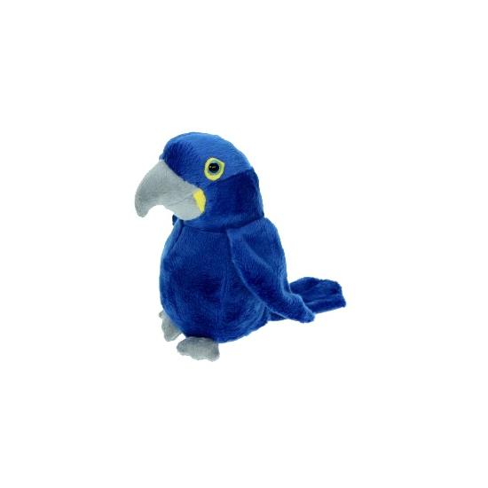 Pluche blauwe papegaai 16 cm