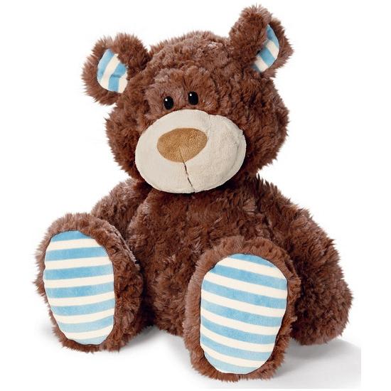 Pluche bruine beer met blauw/witte pootjes en oortjes 50 cm