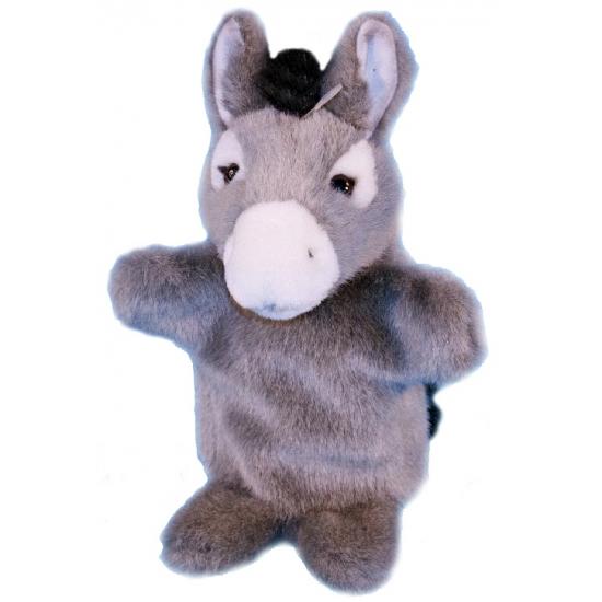 Pluche ezel handpoppetje 28 cm