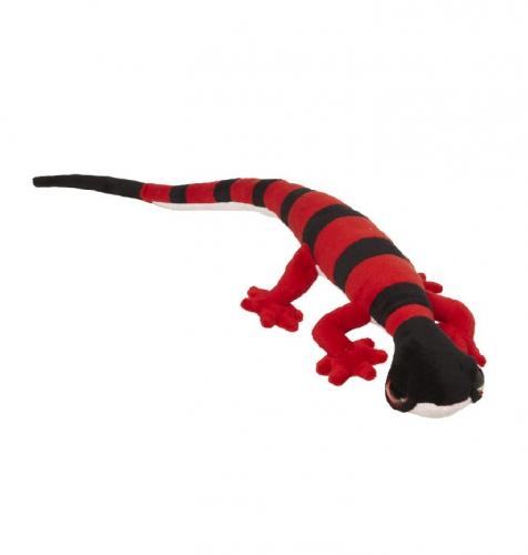 Pluche gekko rood met zwart 62 cm