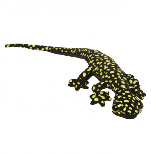 Pluche gekko zwart met geel 62 cm