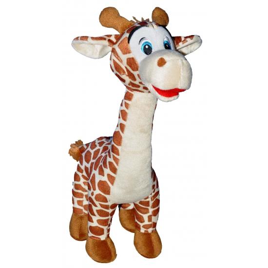 Pluche giraffe met grote blauwe ogen