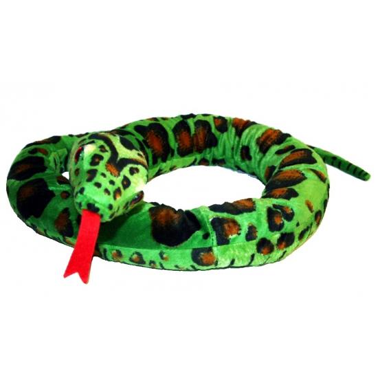 Pluche groen gevlekte slang 180 cm